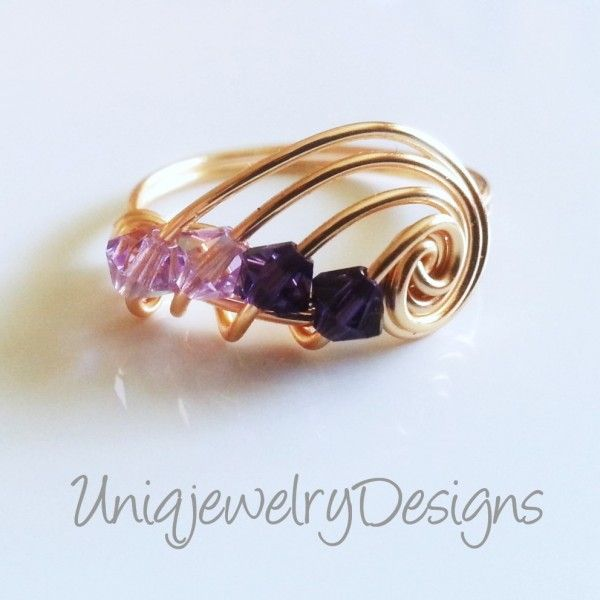 Swarovski Purple Wire Wrapped Ring