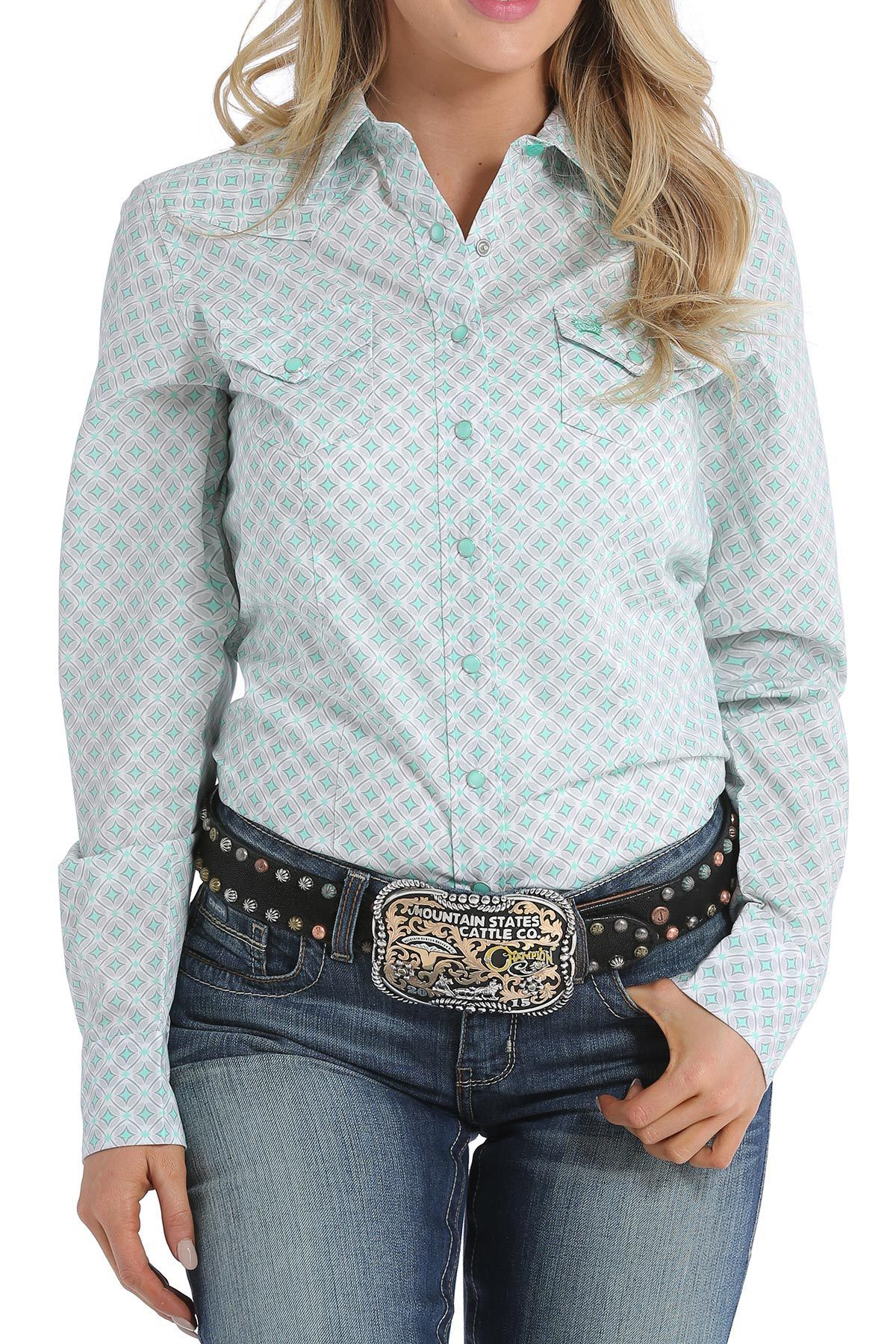 3d0b1f27d Cinch Women's Mint/Gray Diamond Print Long Sleeve Snap Shirt ...
