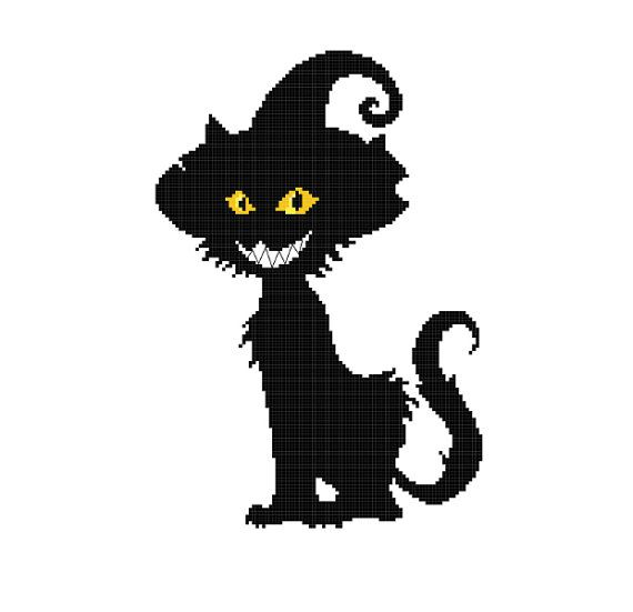 Halloween Cat Silhouette Cat In A Witch Hat Silhouette Pattern