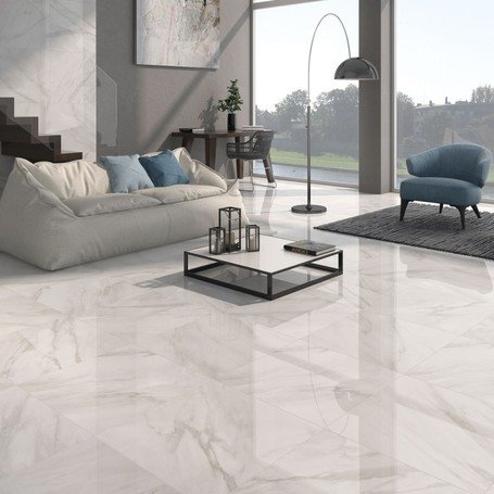 Calacatta White Gloss Floor Tiles Grey Vein Design in