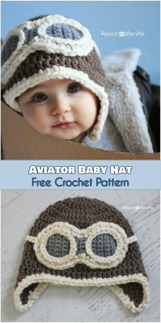 Aviator baby crochet hat. Free Pattern | Gestrickte mützen ...