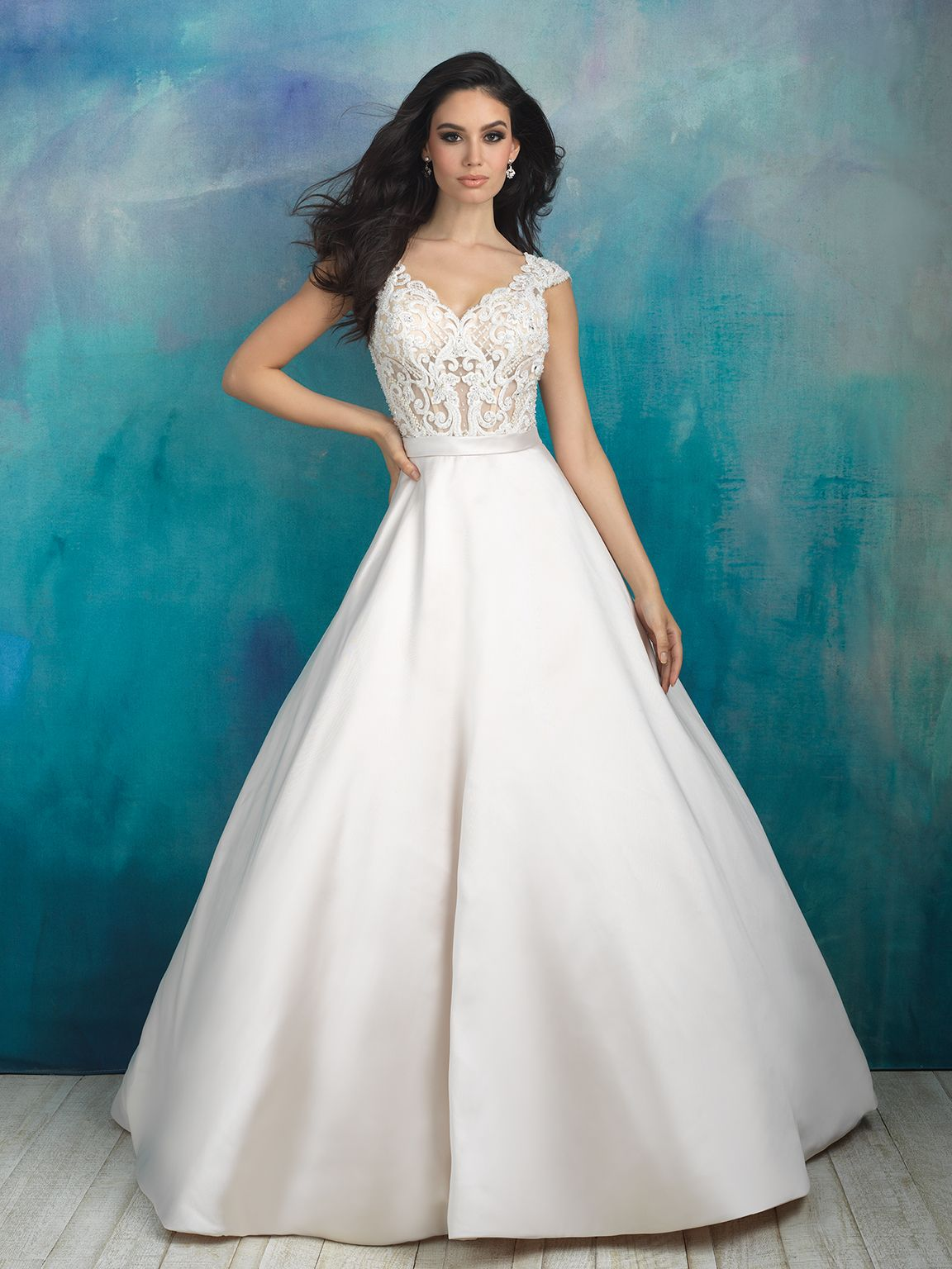 9517 This ballgown pairs a soft silk Mikado skirt with a beautifully ...