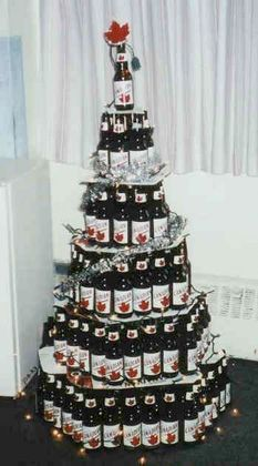 Heard of a beer cake well here is a beer Christmas tree - Cheers ...