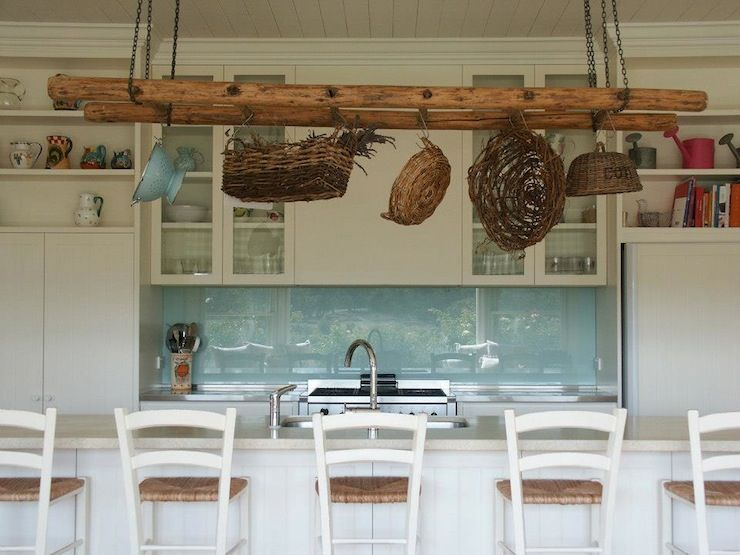 Beach Cottage Kitchen With White Wood Paneled Ceiling Accented Rustic Ladder Pot Rack Over