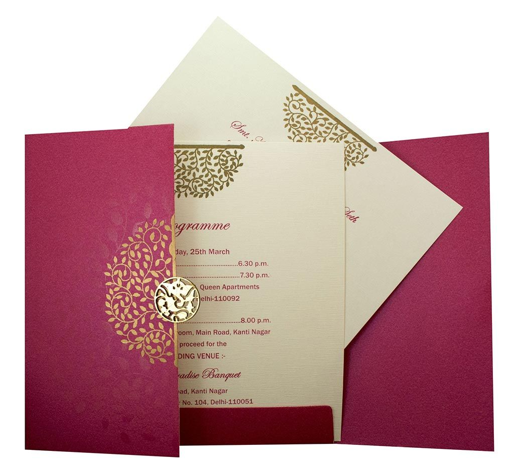 Invite in Pink with a Gate fold and Laser cut Ganesha | Ganesha ...