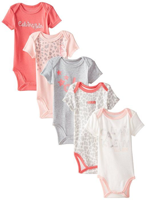 fed479d9e0a2 Calvin Klein Baby-Girls Newborn 5 Pack Creeper Set- Coral Pink Gray ...