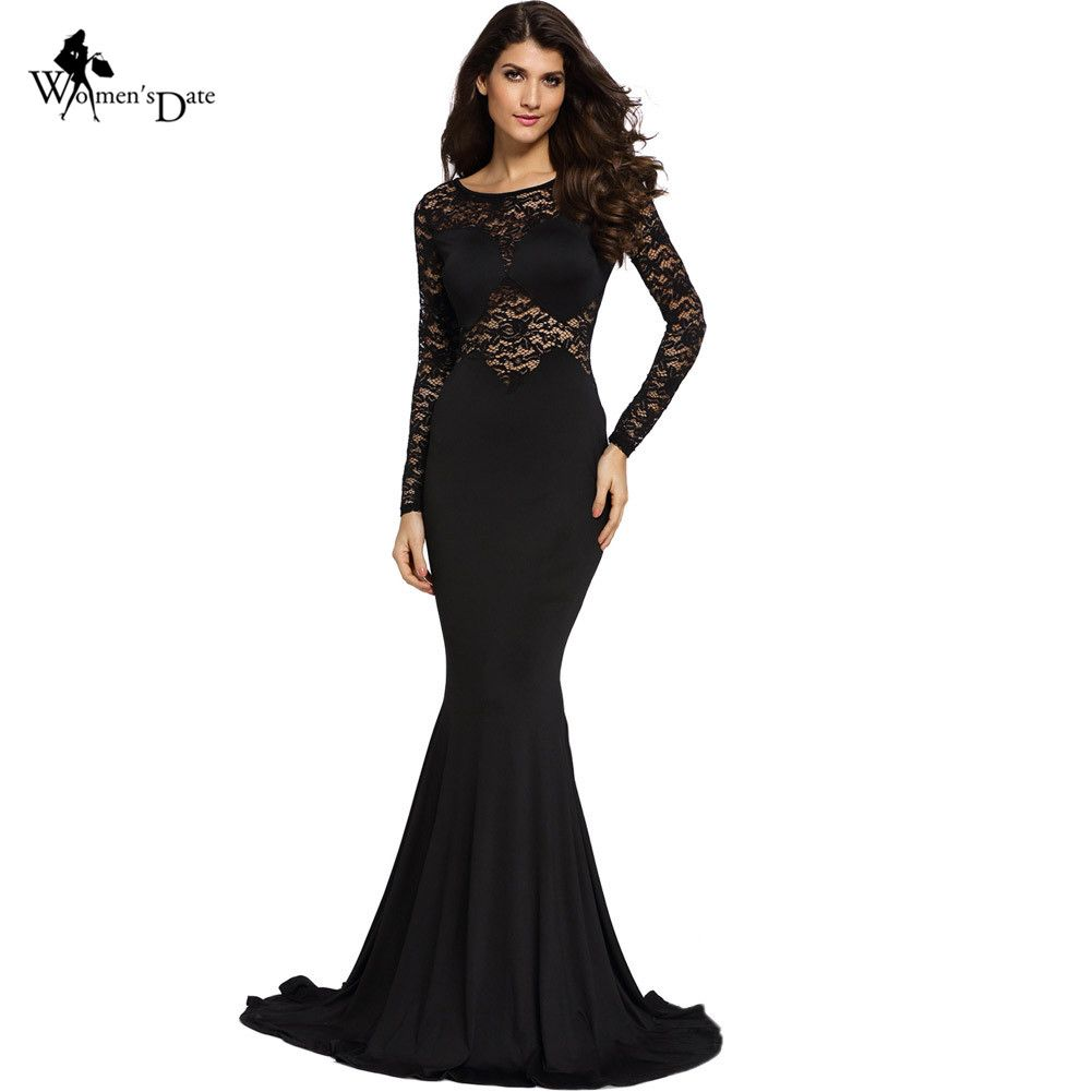 WomensDate Elegant Sexy Black Lace Bodycon Mermaid Maxi Long Dress ...
