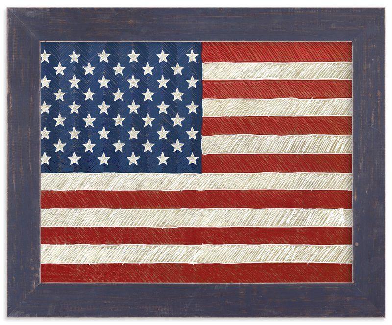 Rustic American Flag Art Print #americanflagart