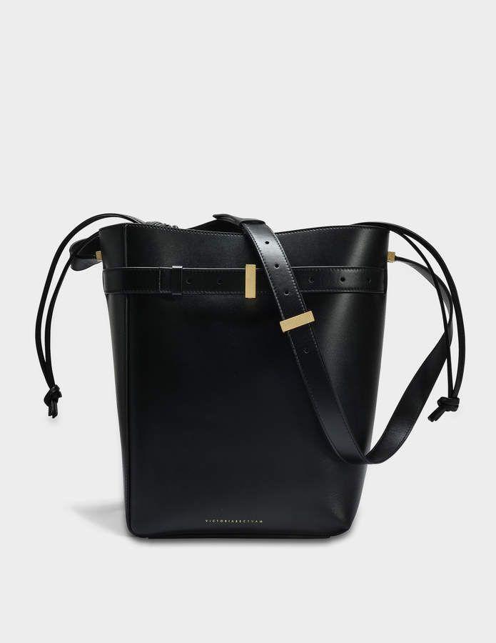 Victoria Beckham Twin Bucket Bag in Black Calf Leather NVFTbsryet