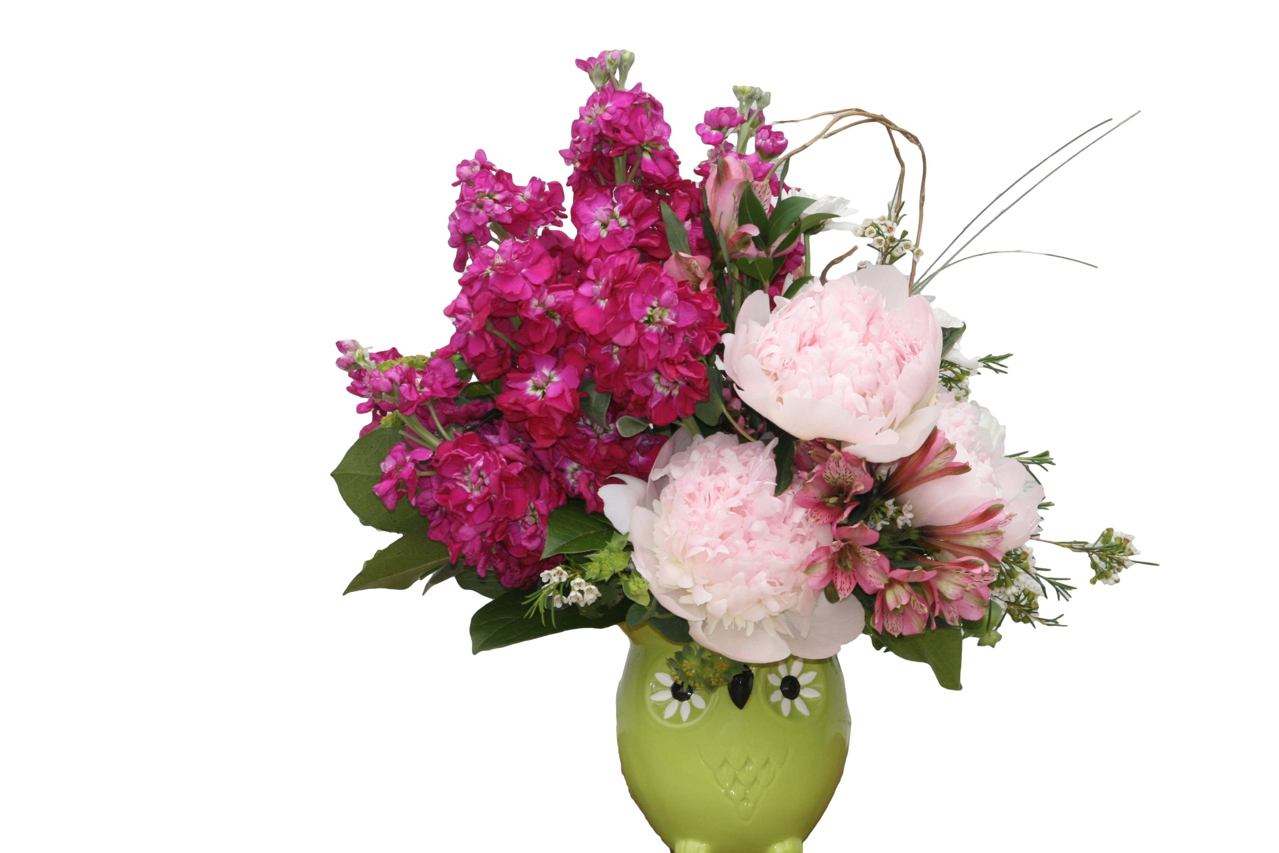 Pink peonies and other pink accents in a keepsake ceramic owl buy flowers from your local florist in riverside ca willow branch florist of riverside will provide all your floral and gift needs in riverside ca izmirmasajfo