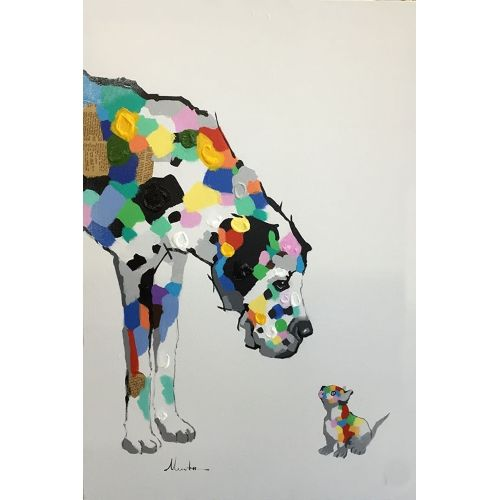 """Big meets little in this playful pop art painting. Oil painting on canvas, each painting can vary slightly. Painting includes frame and measures 32""""x44"""""""