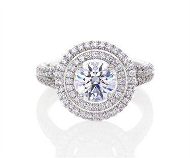 Diamant Halo Aura PlatineAu Double Des Coeur Bague De En Beers XiuPZk