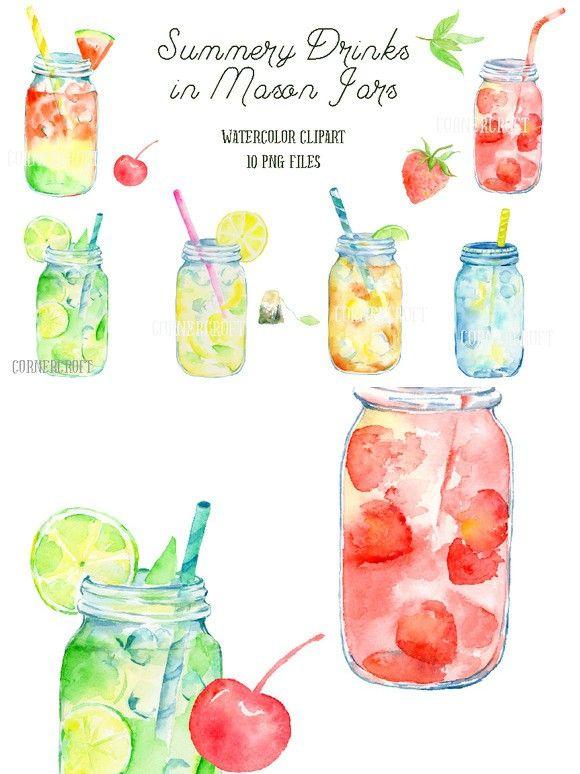 Watercolor Mason Jar Drinks Mason Jar Drinks Watercolor Mason Jars