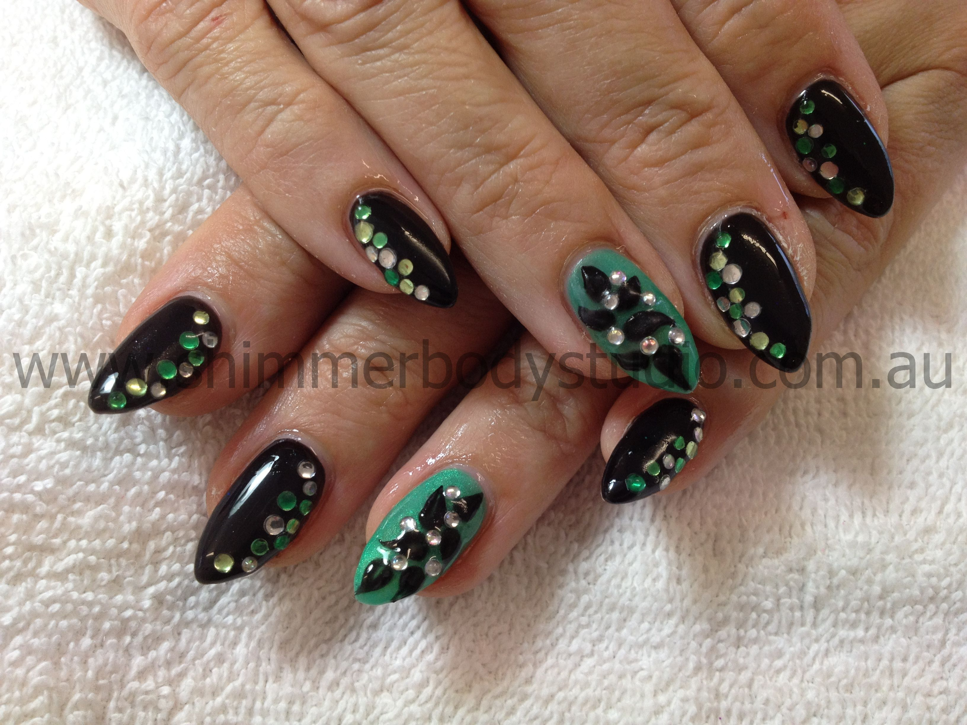 Gel nails, black and aqua nails, crystals diamantes nail art, 3d ...