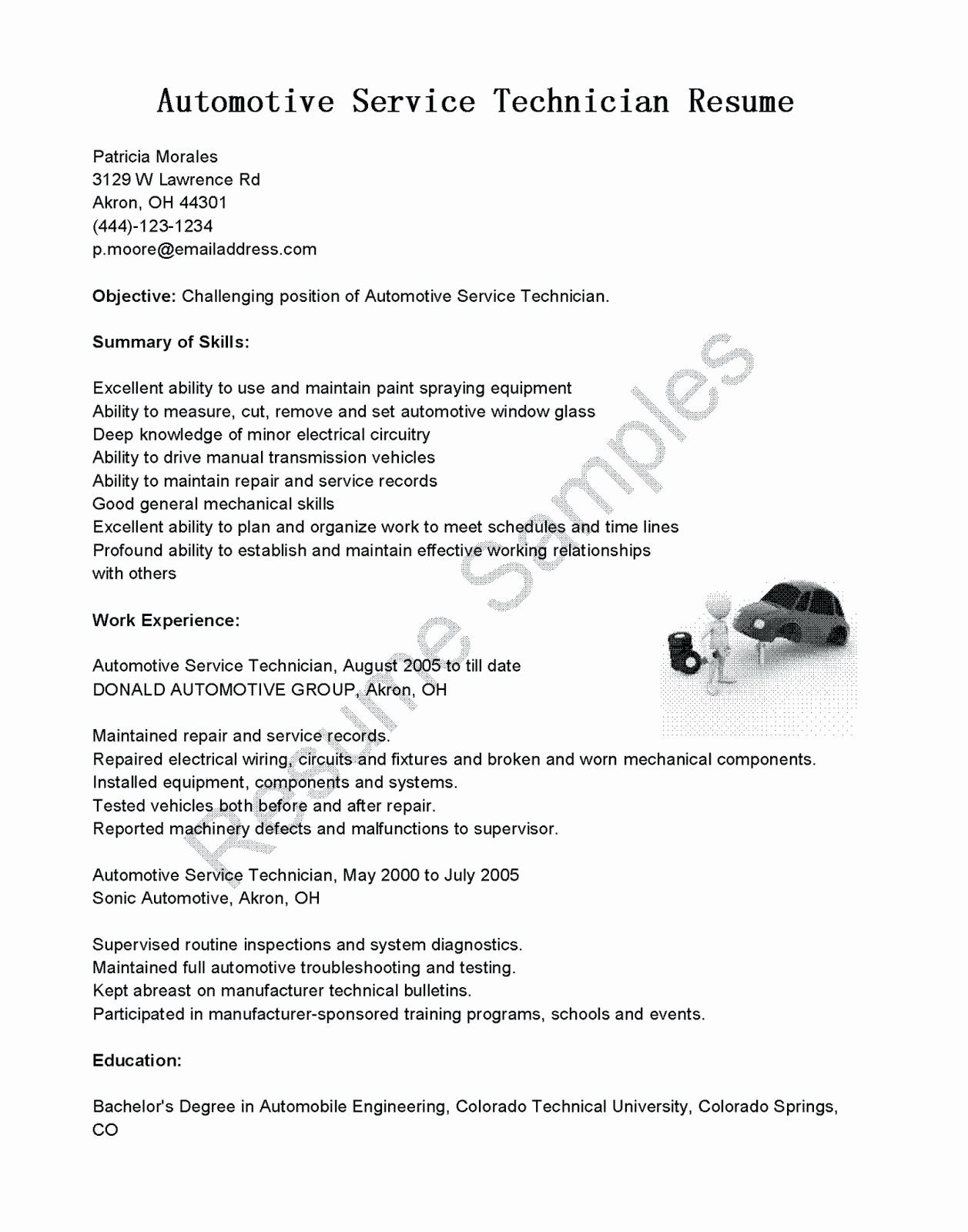 Unique Resume and Template Fabulous Auto Technician Resume