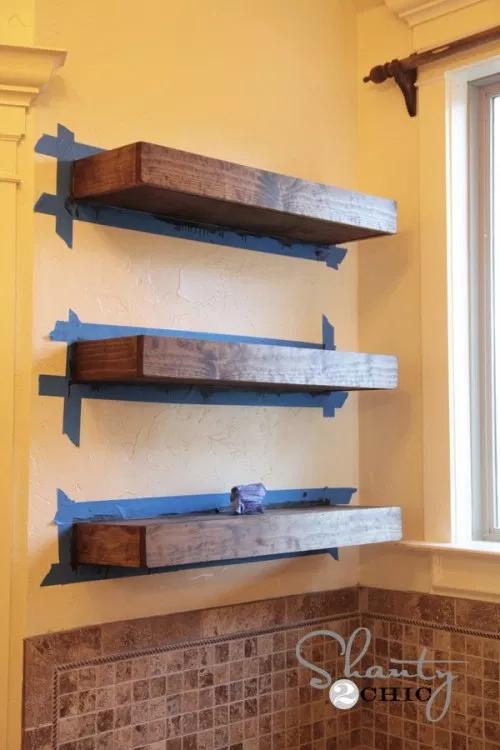 Easy DIY Floating Shelves - Floating Shelf Tutorial Video & Free Plans #floatingshelves