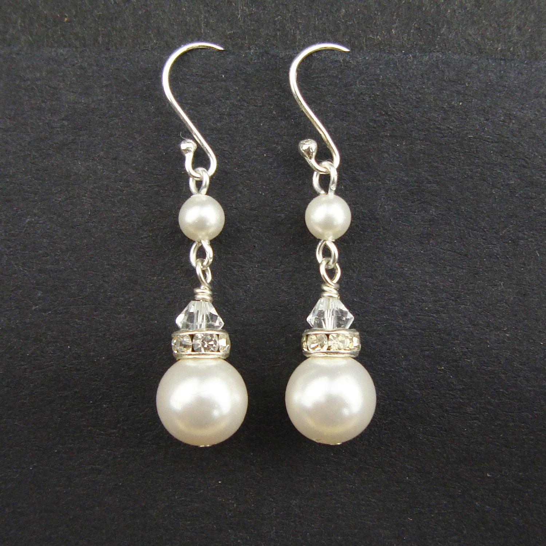 Clic Pearl Bridal Earrings Sterling Silver Wedding Swarovski Ivory White
