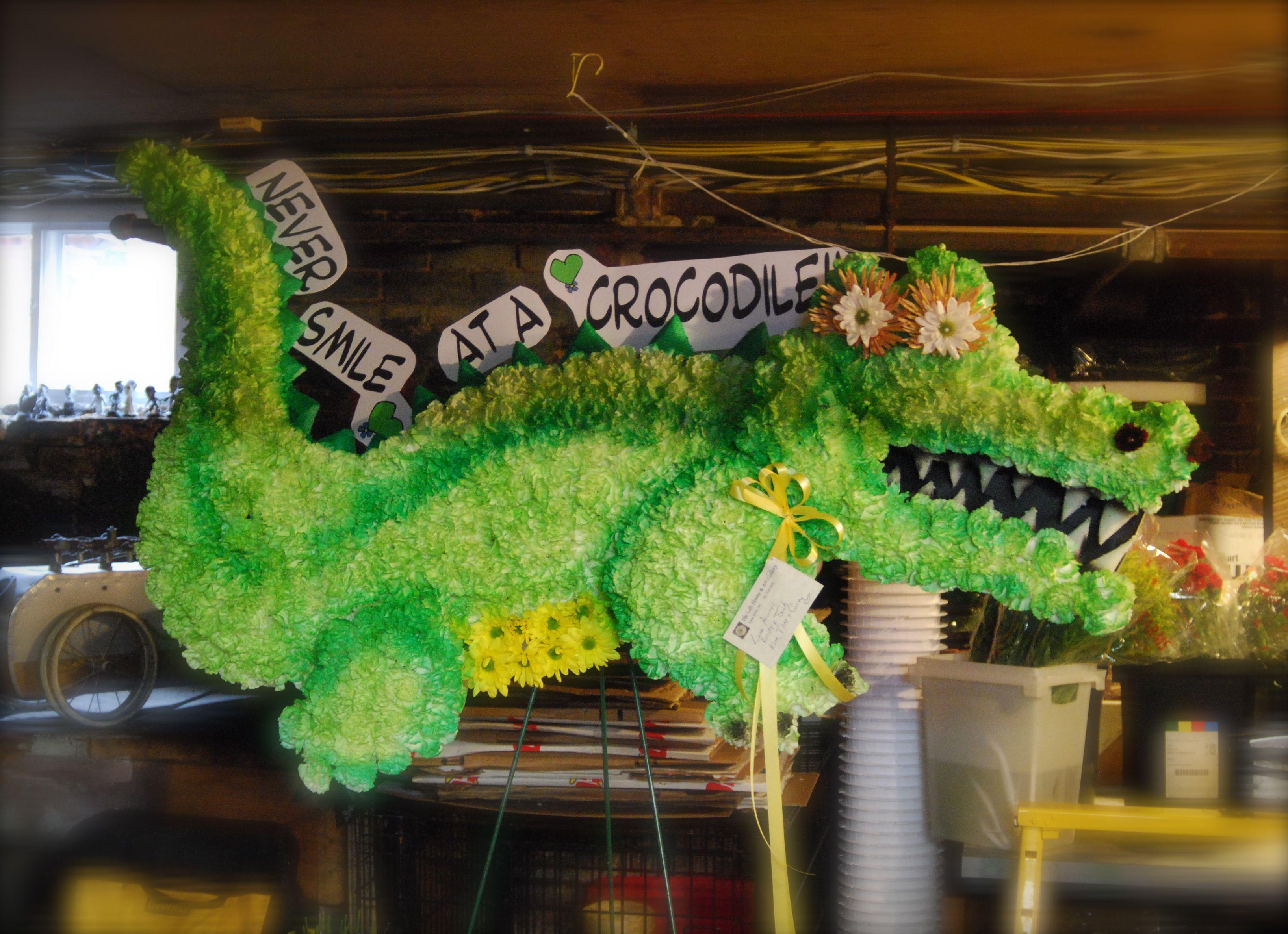 Crocodile Custom Funeral Flowers Sculpture Theloftflorist