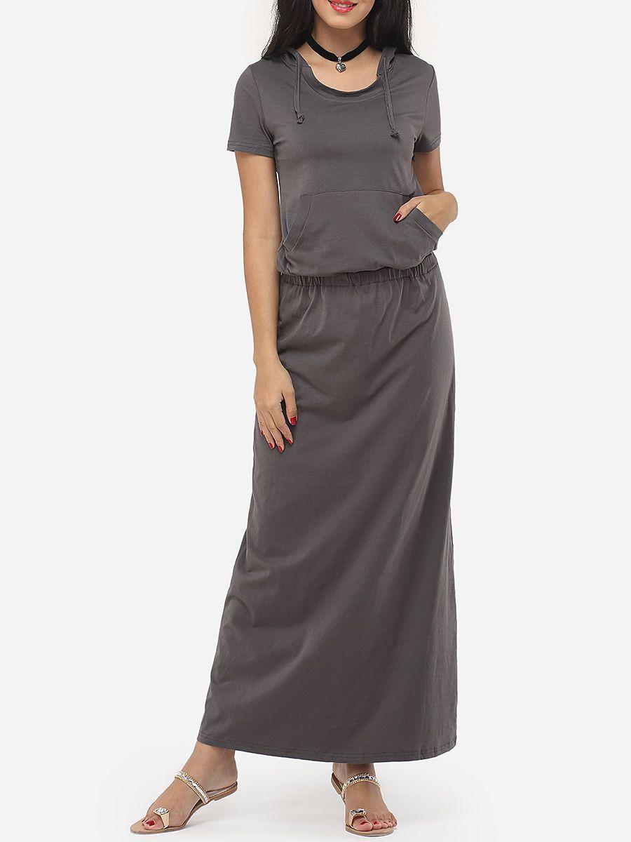 Plain pockets exquisite hooded maxidress maxi dresses pinterest