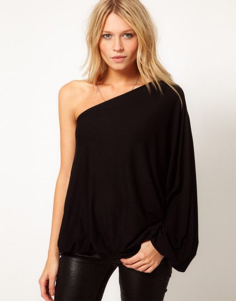 90970fc03d2bf8 Women s Black Top with One Shoulder Volume Sleeve in 2019