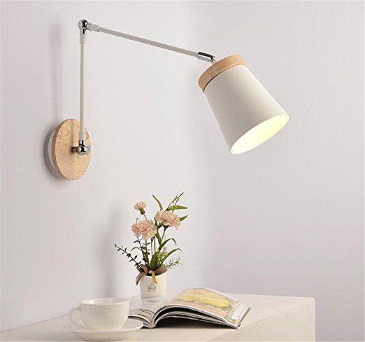 E27 modernes kreativ weiß Metall Lampenschirm lang Arm Retractable