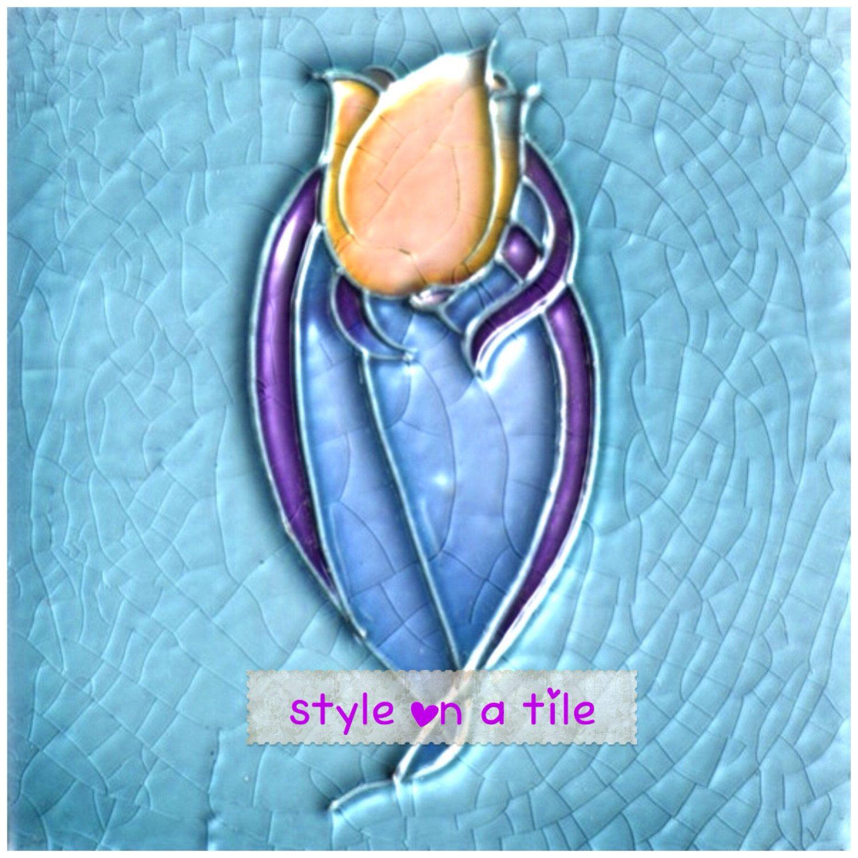 Lovely Art Nouveau Orange Tulip blue and purple design large ceramic ...