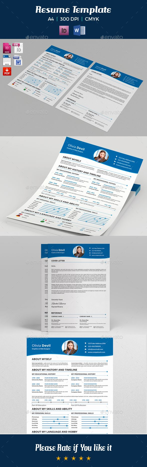 Resume Template / CV Template Instant Download This is not a mock-up ...