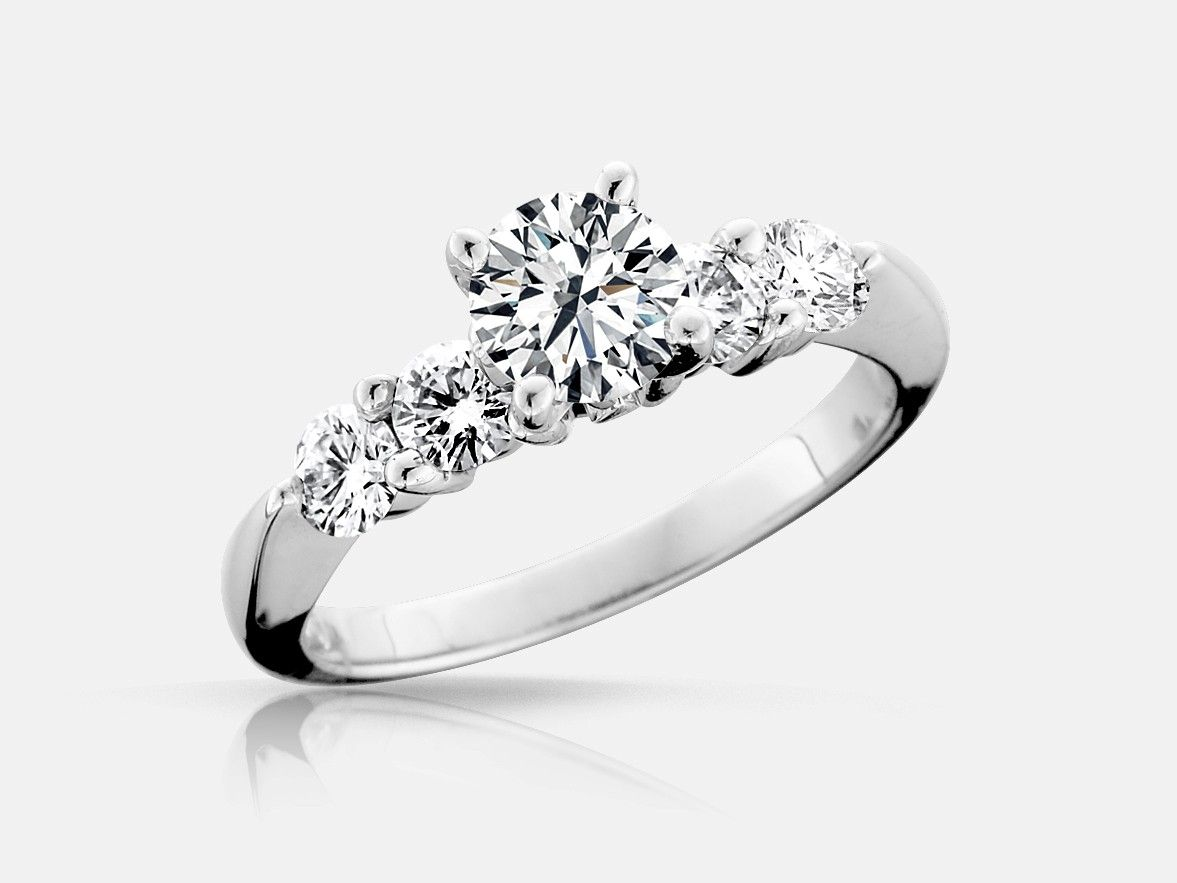 Lux Bond & Green | Naledi Ashby Style Five-Stone Engagement Ring  in 18k…