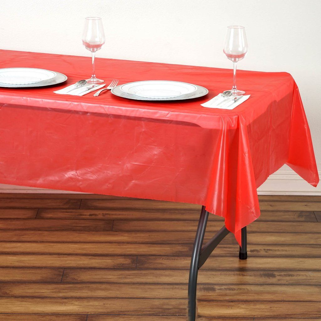 54 X 72 Red 10 Mil Thick Waterproof Tablecloth Pvc Rectangle Disposable Tablecloth In 2020 Table Cloth Waterproof Tablecloth Plastic Tables