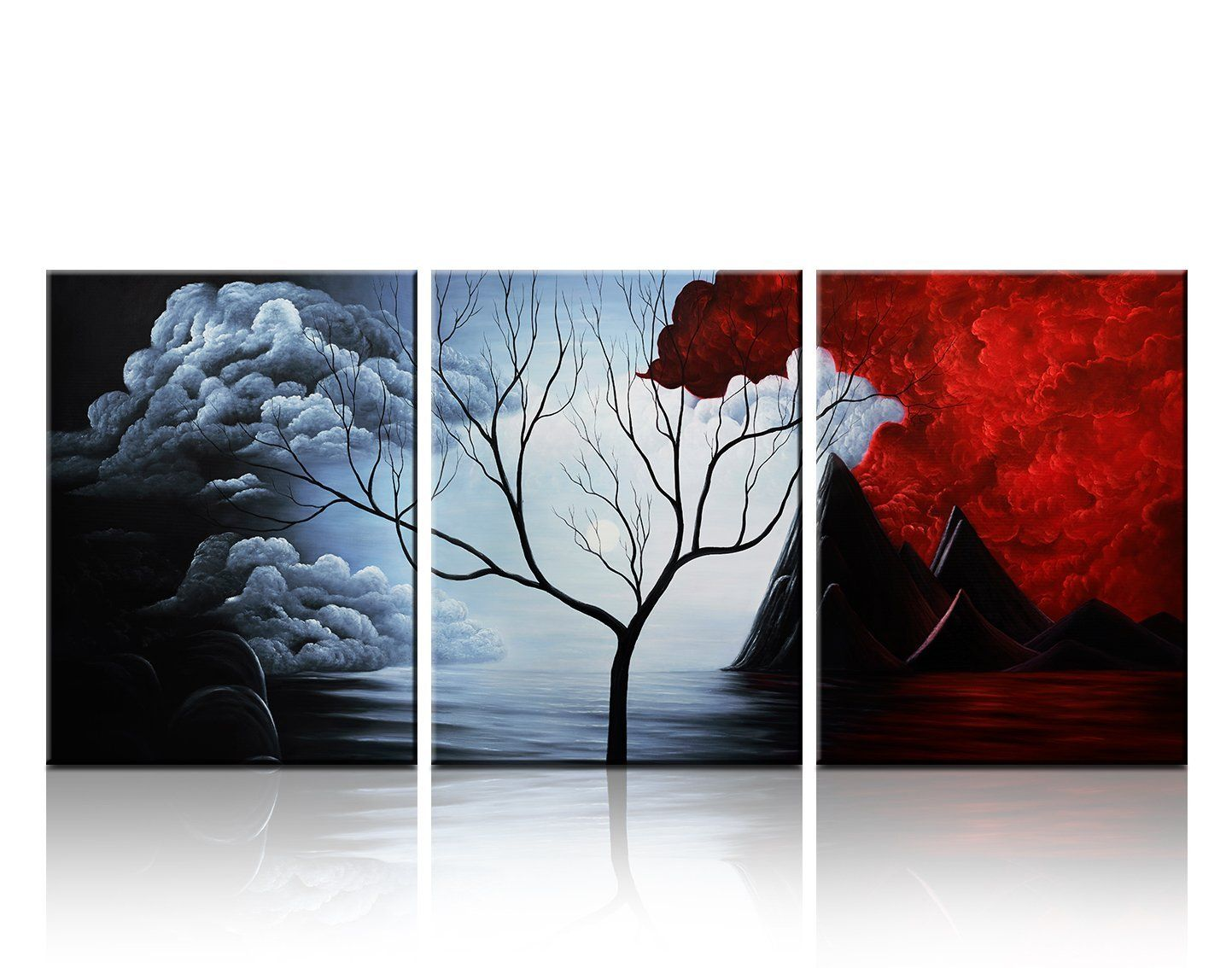 Cyber Monday Deal Christmas Gift Santin Art- the Cloud Tree-Modern Abstract  Painting High Q. Wall Decor Landscape Paintings on Canvas Stretched and  Framed ...
