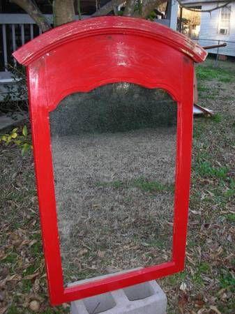 Red Distressed Dresser top Wood Framed Mirror