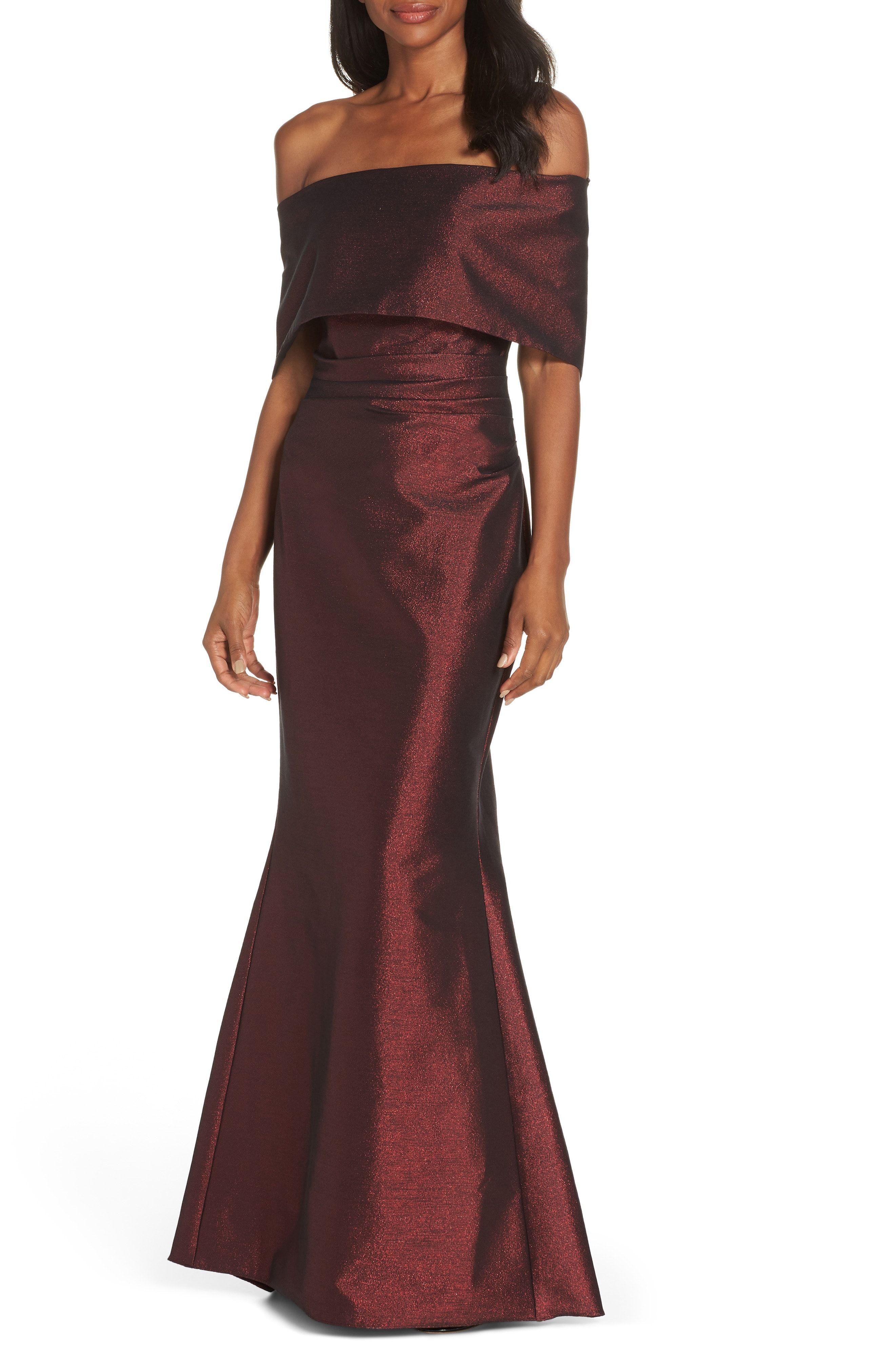 Burgundy Red Off The Shoulder Formal Gown Vince Camuto Foldover Neckline Gown Affiliate Stylish Formal Dresses Short Mermaid Dress Strapless Dress Formal [ 4048 x 2640 Pixel ]