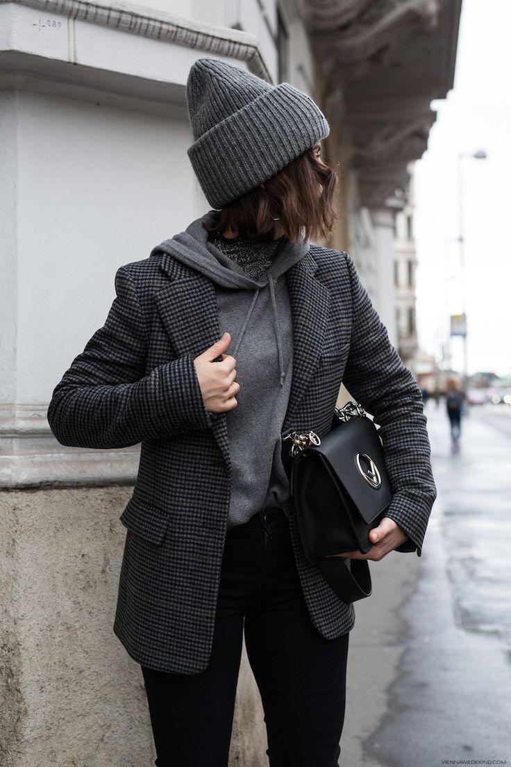 schwarzes und graues Winteroutfit #winteroutfits