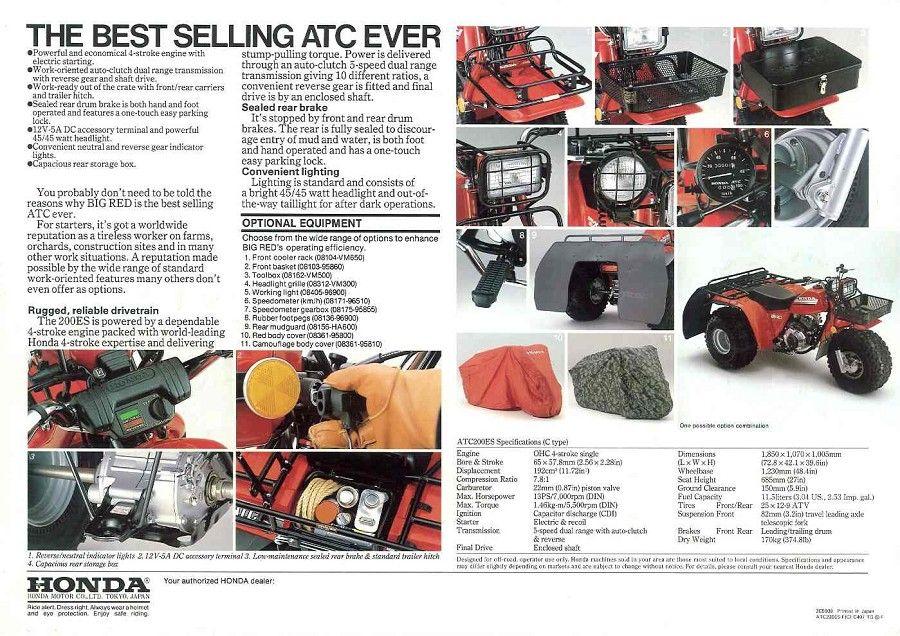 Honda ATC ATV 3 Wheeler, Quad, TRX, FL Odyssey & Pilot NOS ...