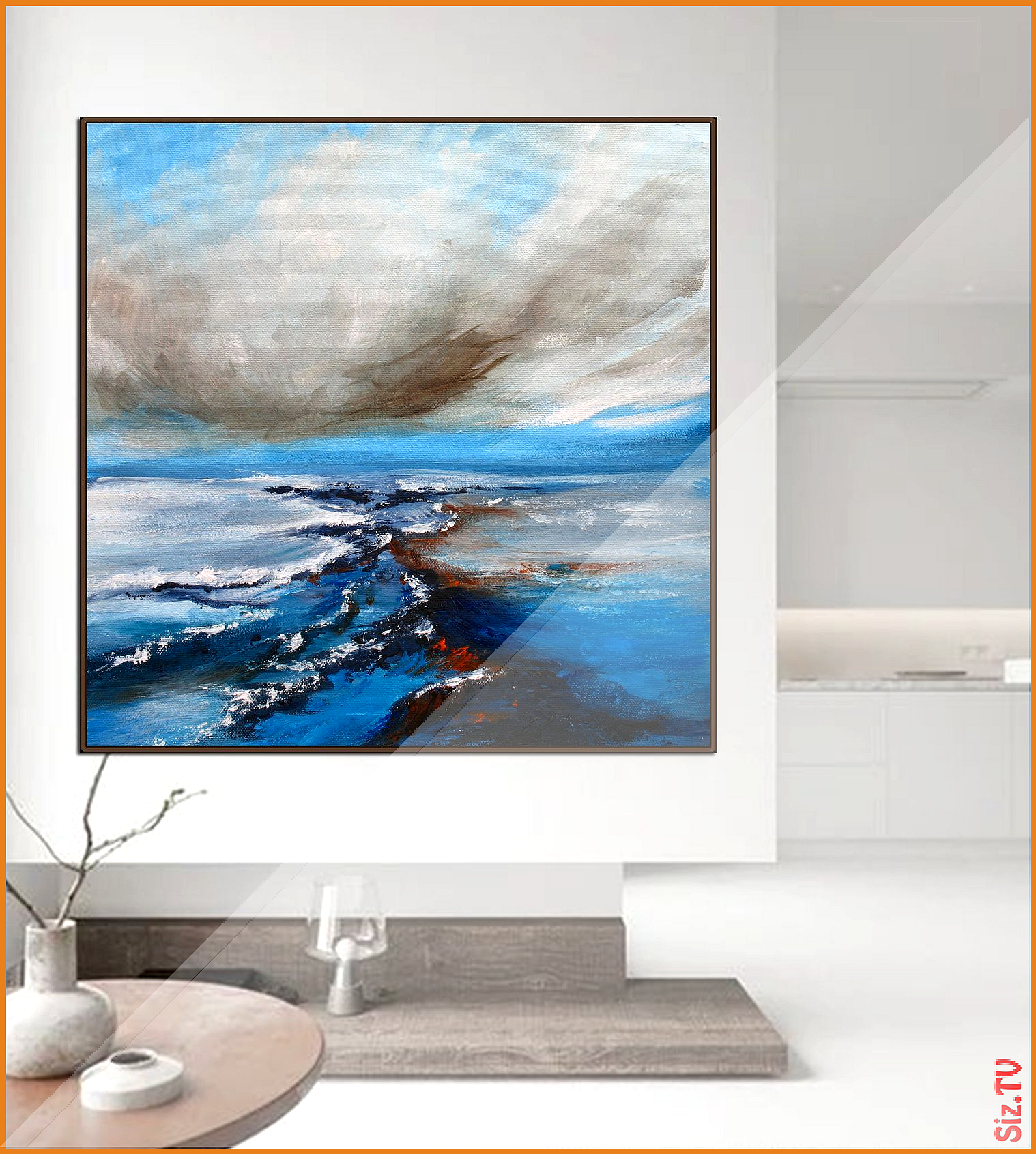 Large Abstract Painting On Canvas Blue Painting Original Gray Painting Sky Cloud Painting Large Abstract A Cloud Painting Grey Painting Large Abstract Painting