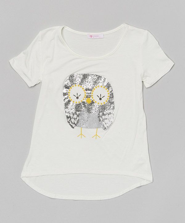 Look at this Pinc Premium Ivory Glitter Owl Tee - Girls on #zulily today!