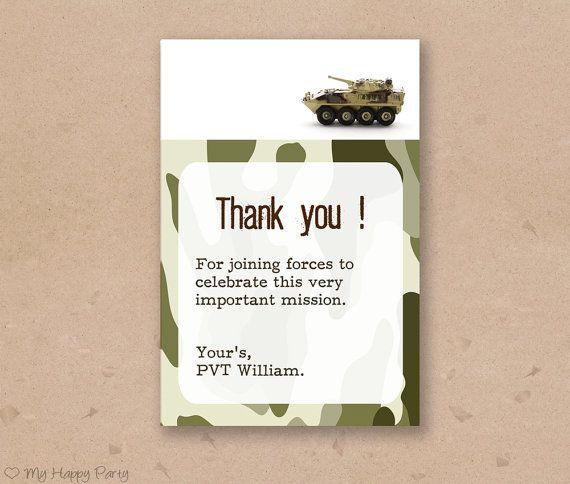 Army Birthday Thank You Card Army Favor Card Army Birthday Party