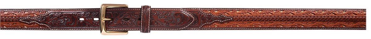 3D Belt Mens Western Filigree Lacing Floral Tooled Natural Belt 5634