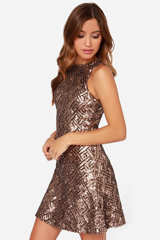 7fa40a2f18 Dress the Population Mia Bronze Sequin Dress | SPARKLE OBSESSED ...