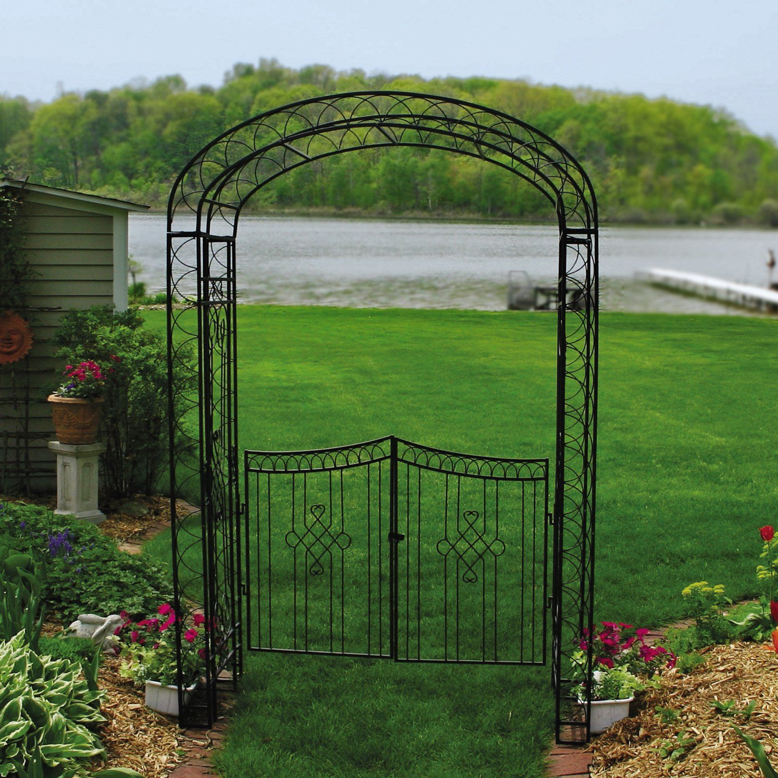 Austram Royal Garden 7.5 Ft. Iron Arch Arbor With Gate   From Hayneedle.