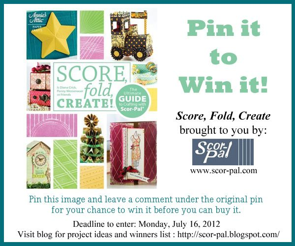 Score, Fold, Create idea book from Scor-pal. Win it before you can buy it! Simply repin this image and leave a comment on the original pin telling us why you want to win. Contest runs July 13-16, 2012. We'll be announcing the winner on FB (http://www.facebook.com/ScorpalFanPage/) and the Scor-pal blog (http://scor-pal.blogspot.com/), so follow/friend us to make sure you receive notification if you've won!