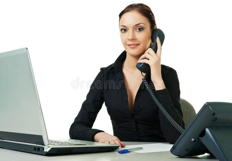 Smiling Young Receptionist Using Desk Phone On White Background Spon Receptionist Young Smiling Desk Backgroun Front Office Job Opening Frontline