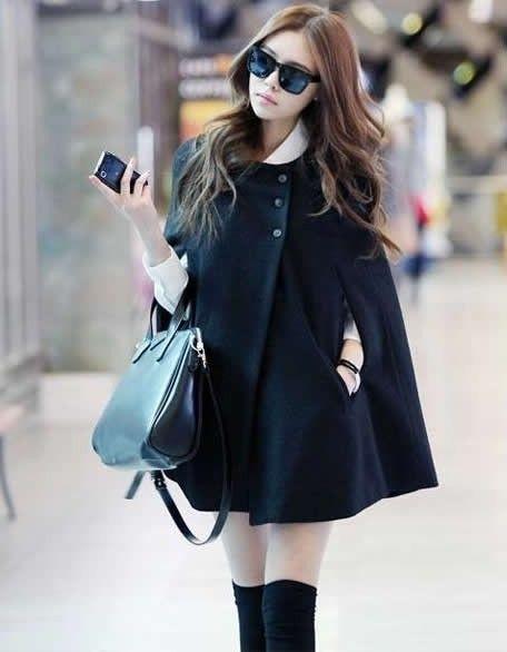 Black wool blend cape coat
