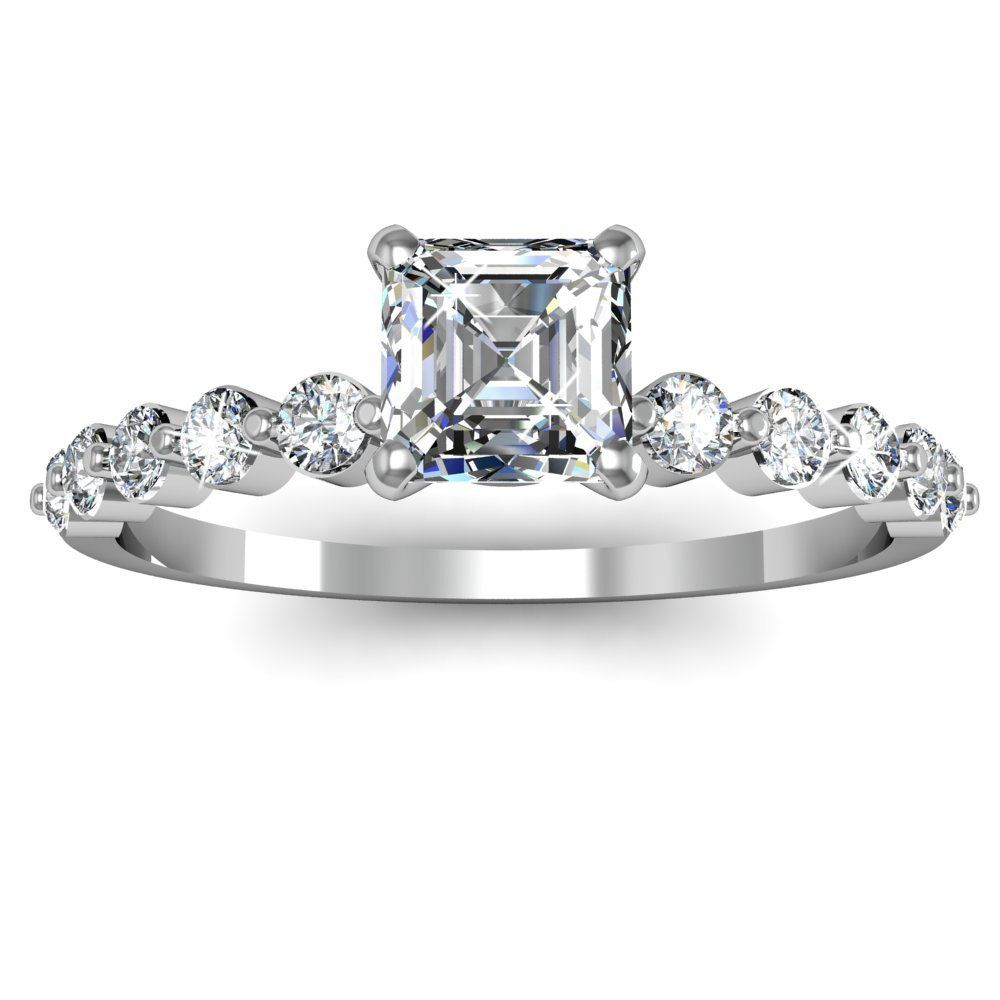 Asscher Cut Diamond Engagement Ring - This is a very adorable floating style 14k White Gold Asscher Cut Diamond Engagement Ring placed within a Prong setting featuring a .81 carat White Asscher center stone set atop of the ring along with 10 additional White Round brilliant accent sides stones. The Asscher diamond engagement ring comes with an SI1 in diamond clarity as well as a G in color & the total gem weight is equal to 1.0 carats. The diamonds are 100% natural. #unusualengagementrings