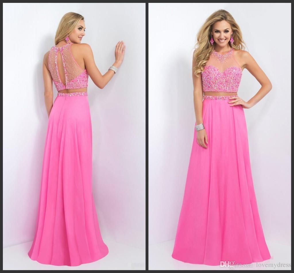 Long dress pink chiffon dress crystals sparked prom dress custom