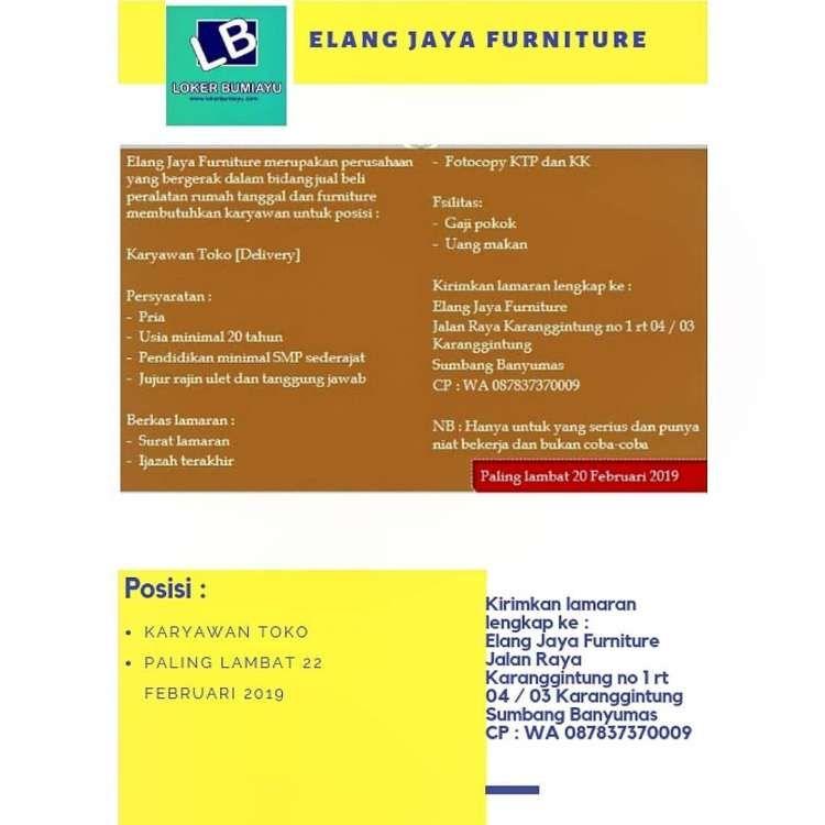 Lowongan Kerja Elang Jaya Furniture Jaya Dan Tanggal