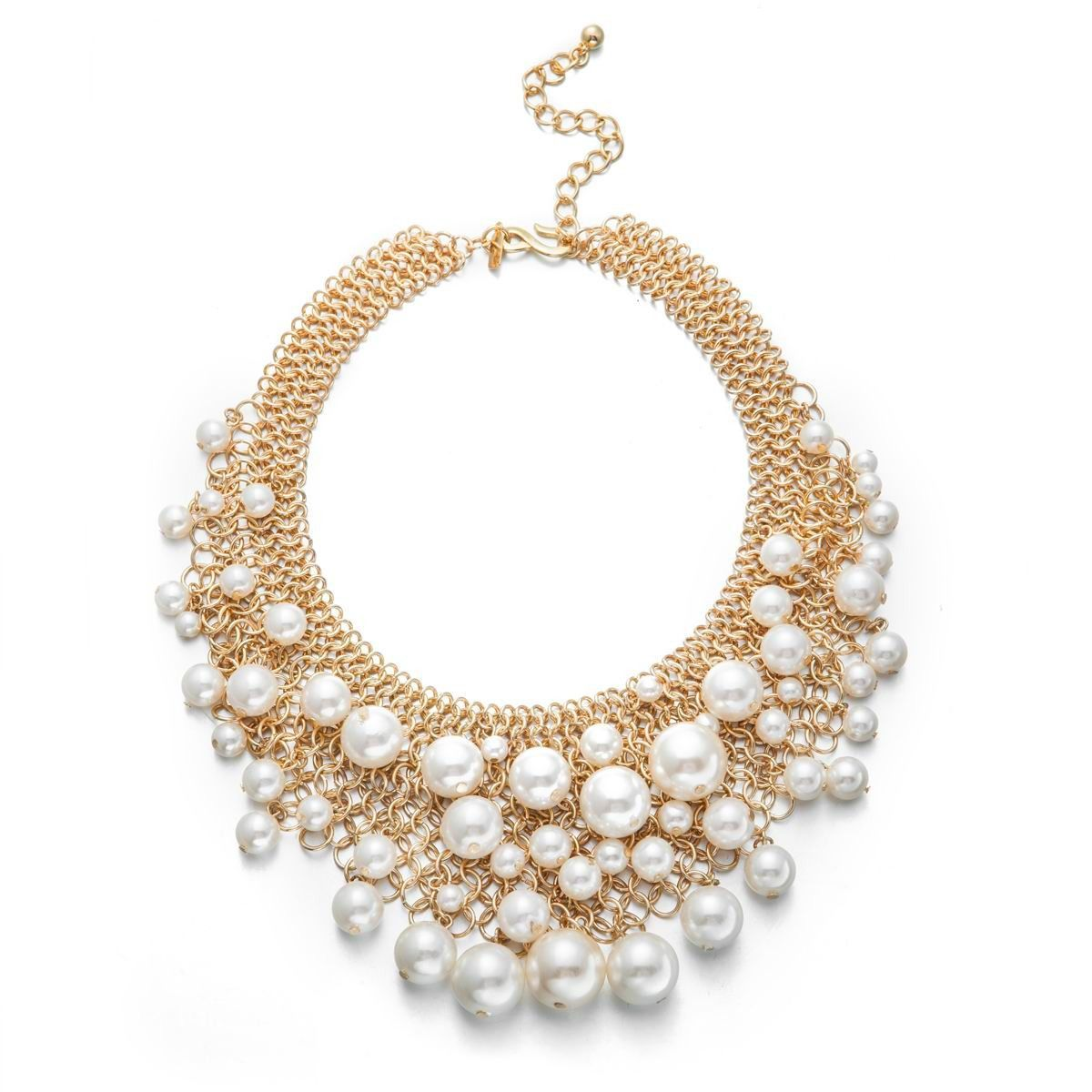 Kenneth Jay Lane Simulated Pearl & Gold Mesh Bib Necklace