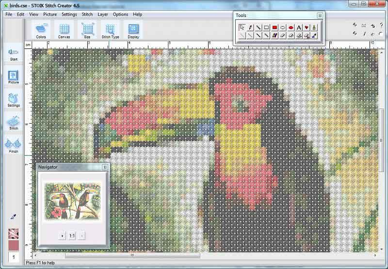 Stoik Stitch Creator Convert Your Images To A Cross Stitch Pattern Cross Stitch Patterns Cross Stitch Software Cross Stitch Bird