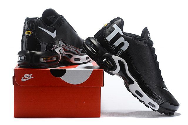 sale retailer fe9d8 38a46 Nike Mercurial Air Max Plus Tn Leather Men s women s Running Shoes Black  White