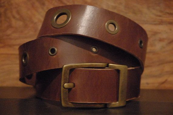 Leather Belt  Eyelet Brass Size Belt Buckle by CUERO925LEATHER, €25.00